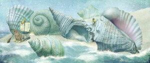 海 海岸 船 貝 ファンタジー 青 ブルー キッズ 子どもの壁紙 輸入 カスタム壁紙 PHOTOWALL / Ocean Meets Sky Shell Island (e320041) 貼ってはがせるフリース壁紙(不織布) 【海外取り寄せのため1カ月程度で