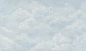 雲 空 鳥 水色の壁紙 輸入 カスタム壁紙 PHOTOWALL / Tender Clouds with White Swallows - Soft Blue (e320871) 貼ってはがせるフリース壁紙(不織布) 【海外取り寄せのため1カ月程度でお届け】 【代引き・後払い不可】