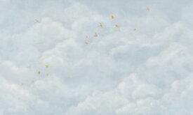 雲 空 鳥 水色の壁紙 輸入 カスタム壁紙 PHOTOWALL / Tender Clouds with Yellow Swallows - Soft Blue (e320874) 貼ってはがせるフリース壁紙(不織布) 【海外取り寄せのため1カ月程度でお届け】 【代引き不可】