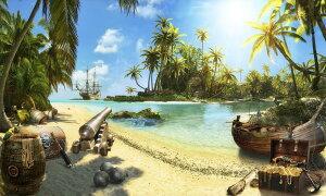 ビーチ 砂浜 海 海賊 宝箱 ボート 船 ヤシの木の壁紙 輸入 カスタム壁紙 PHOTOWALL / Pirate Island (e323104) 貼ってはがせるフリース壁紙(不織布) 【海外取り寄せのため1カ月程度でお届け】 【代引き