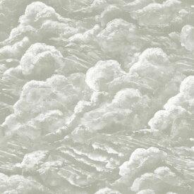 雲 絵画 イラスト 灰色 グレー 緑 グリーンの壁紙 輸入 カスタム壁紙 PHOTOWALL / Into the Clouds - Green (e323207) 貼ってはがせるフリース壁紙(不織布) 【海外取り寄せのため1カ月程度でお届け】 【代引き不可】