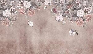 花 アンティーク ピンクの壁紙 輸入 カスタム壁紙 PHOTOWALL / Vintage Flower Wall - Pink (e328540) 貼ってはがせるフリース壁紙(不織布) 【海外取り寄せのため1カ月程度でお届け】 【代引き・後払い不