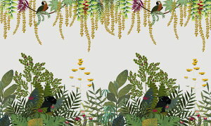 花 植物 オウム 鳥 クロヒョウ イラストの壁紙 輸入 カスタム壁紙 PHOTOWALL / Tropical Fauna - Bright (e328284) 貼ってはがせるフリース壁紙(不織布) 【海外取り寄せのため1カ月程度でお届け】 【代引