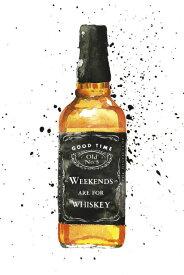 ウイスキー ボトル 水彩画 イラストの壁紙 輸入 カスタム壁紙 PHOTOWALL / Weekends are for Whiskey (e328235) 貼ってはがせるフリース壁紙(不織布) 【海外取り寄せのため1カ月程度でお届け】 【代引き・後払い不可】