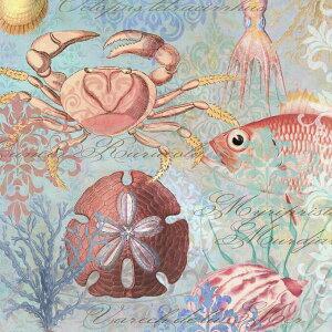 魚 カニ タコ 貝 パターン マリンの壁紙 輸入 カスタム壁紙 PHOTOWALL / Sea Life Arabesques (e330213) 貼ってはがせるフリース壁紙(不織布) 【海外取り寄せのため1カ月程度でお届け】 【代引き・後払い