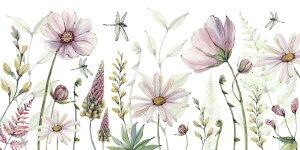 花 コスモス トンボ ピンクの壁紙 輸入 カスタム壁紙 PHOTOWALL / Fabulous Flowers (e330455) 貼ってはがせるフリース壁紙(不織布) 【海外取り寄せのため1カ月程度でお届け】 【代引き・後払い不可】