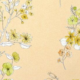 【 壁紙 のり付き 】生のり付き 壁紙 (クロス)(販売単位1m)花柄の壁紙 オレンジ SRH-4672