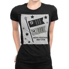 tシャツ レディース 半袖 ブラック 黒 デザイン S M L XL Tシャツ ティーシャツ T shirt 017652 子供の日 こいのぼり 鯉のぼり モノトーン