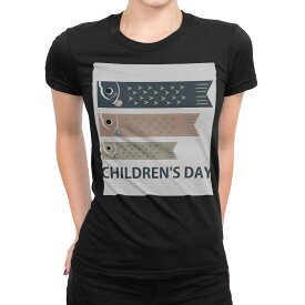 tシャツ レディース 半袖 ブラック 黒 デザイン S M L XL Tシャツ ティーシャツ T shirt 017656 子供の日 鯉のぼり こいのぼり カラフル