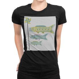 tシャツ レディース 半袖 ブラック 黒 デザイン S M L XL Tシャツ ティーシャツ T shirt 017692 子供の日  こいのぼり カラフル 鯉のぼり