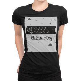 tシャツ レディース 半袖 ブラック 黒 デザイン S M L XL Tシャツ ティーシャツ T shirt 017747 子供の日 鯉のぼり 白黒 雲 星