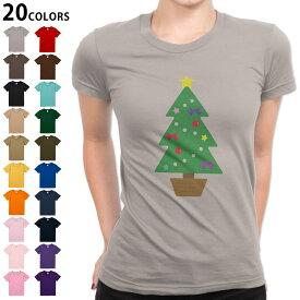 選べる20カラー tシャツ レディース 半袖 デザイン S M L Tシャツ ティーシャツ T shirt 017666 クリスマス ツリー クリスマス カラフル