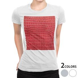 tシャツ レディース 半袖 白地 デザイン S M L XL Tシャツ ティーシャツ T shirt 000161 赤 蛇柄 クロコダイル