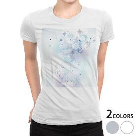 tシャツ レディース 半袖 白地 デザイン S M L XL Tシャツ ティーシャツ T shirt 000252 雪の結晶 星