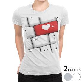 tシャツ レディース 半袖 白地 デザイン S M L XL Tシャツ ティーシャツ T shirt 002518 ハート キーボード