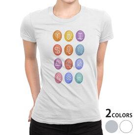 tシャツ レディース 半袖 白地 デザイン S M L XL Tシャツ ティーシャツ T shirt 002663 星座 カラフル