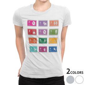 tシャツ レディース 半袖 白地 デザイン S M L XL Tシャツ ティーシャツ T shirt 002667 星座 カラフル