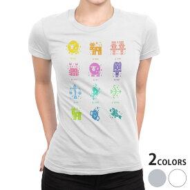 tシャツ レディース 半袖 白地 デザイン S M L XL Tシャツ ティーシャツ T shirt 002668 星座 カラフル
