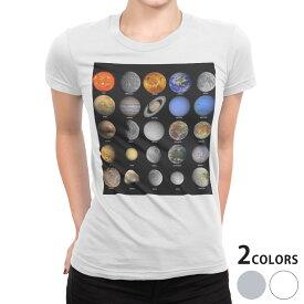 tシャツ レディース 半袖 白地 デザイン S M L XL Tシャツ ティーシャツ T shirt 002781 宇宙 惑星