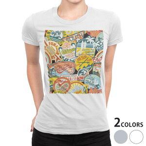 tシャツ レディース 半袖 白地 デザイン S M L XL Tシャツ ティーシャツ T shirt 003436 ワッペン カラフル 外国