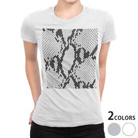 tシャツ レディース 半袖 白地 デザイン S M L XL Tシャツ ティーシャツ T shirt 004476 ヘビ柄 模様 白 黒