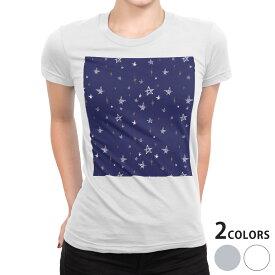 tシャツ レディース 半袖 白地 デザイン S M L XL Tシャツ ティーシャツ T shirt 006537 星 スター 模様