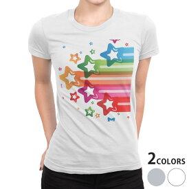 tシャツ レディース 半袖 白地 デザイン S M L XL Tシャツ ティーシャツ T shirt 006576 カラフル 星