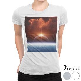 tシャツ レディース 半袖 白地 デザイン S M L XL Tシャツ ティーシャツ T shirt 006717 宇宙 太陽 星