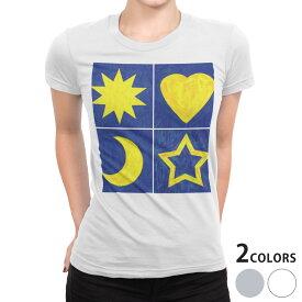 tシャツ レディース 半袖 白地 デザイン S M L XL Tシャツ ティーシャツ T shirt 006981 ハート 星