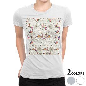 tシャツ レディース 半袖 白地 デザイン S M L XL Tシャツ ティーシャツ T shirt 008603 カラフル 鹿 ベル 星 スター