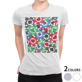 tシャツ レディース 半袖 白地 デザイン S M L XL Tシャツ ティーシャツ T shirt 008743 チップ トランプ カジノ