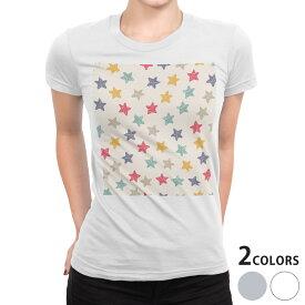 tシャツ レディース 半袖 白地 デザイン S M L XL Tシャツ ティーシャツ T shirt 008872 星 スター カラフル 模様