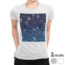 tシャツ レディース 半袖 白地 デザイン S M L XL Tシャツ ティーシャツ T shirt 008877 イラスト 星座 スター