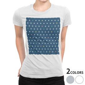 tシャツ レディース 半袖 白地 デザイン S M L XL Tシャツ ティーシャツ T shirt 008900 星 スター 紺 カラフル 模様