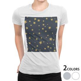 tシャツ レディース 半袖 白地 デザイン S M L XL Tシャツ ティーシャツ T shirt 010569 星 夜空 ネイビー