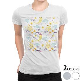 tシャツ レディース 半袖 白地 デザイン S M L XL Tシャツ ティーシャツ T shirt 010610 星 月 キャラクター