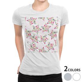 tシャツ レディース 半袖 白地 デザイン S M L XL Tシャツ ティーシャツ T shirt 010615 星 カラフル ピンク