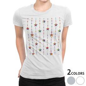 tシャツ レディース 半袖 白地 デザイン S M L XL Tシャツ ティーシャツ T shirt 012701 星 ストライプ ポップ