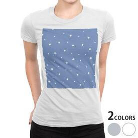 tシャツ レディース 半袖 白地 デザイン S M L XL Tシャツ ティーシャツ T shirt 012731 星 空 スター