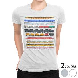 tシャツ レディース 半袖 白地 デザイン S M L XL Tシャツ ティーシャツ T shirt 013183 乗り物 電車 汽車