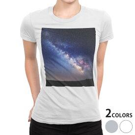 tシャツ レディース 半袖 白地 デザイン S M L XL Tシャツ ティーシャツ T shirt 014939 星 夜空 オーロラ 虹色 景色 自然