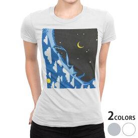 tシャツ レディース 半袖 白地 デザイン S M L XL Tシャツ ティーシャツ T shirt 014981 人 イラスト 月 雲 星