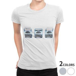 tシャツ レディース 半袖 白地 デザイン S M L XL Tシャツ ティーシャツ T shirt 015913 タイピングライター レトロ