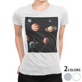 tシャツ レディース 半袖 白地 デザイン S M L XL Tシャツ ティーシャツ T shirt 015918 太陽系 宇宙 惑星