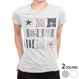 tシャツ レディース 半袖 白地 デザイン S M L XL Tシャツ ティーシャツ T shirt 015922 クッション おしゃれ 星