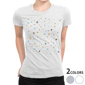 tシャツ レディース 半袖 白地 デザイン S M L XL Tシャツ ティーシャツ T shirt 015935 星 模様 カラフル