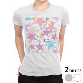 tシャツ レディース 半袖 白地 デザイン S M L XL Tシャツ ティーシャツ T shirt 015945 星 模様 カラフル