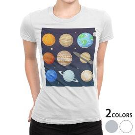 tシャツ レディース 半袖 白地 デザイン S M L XL Tシャツ ティーシャツ T shirt 015951 太陽系 宇宙 惑星