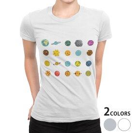 tシャツ レディース 半袖 白地 デザイン S M L XL Tシャツ ティーシャツ T shirt 015953 太陽系 宇宙 惑星