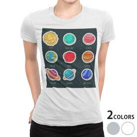 tシャツ レディース 半袖 白地 デザイン S M L XL Tシャツ ティーシャツ T shirt 015956 太陽系 宇宙 惑星